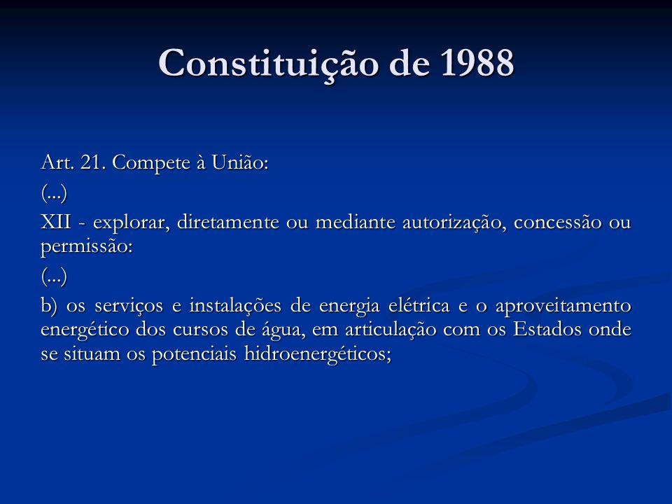Constituição de 1988 Art. 21. Compete à União: (...)