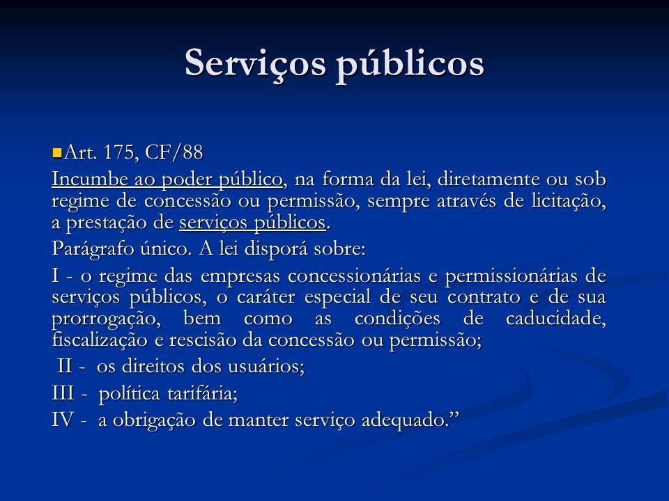 Serviços públicos Art. 175, CF/88