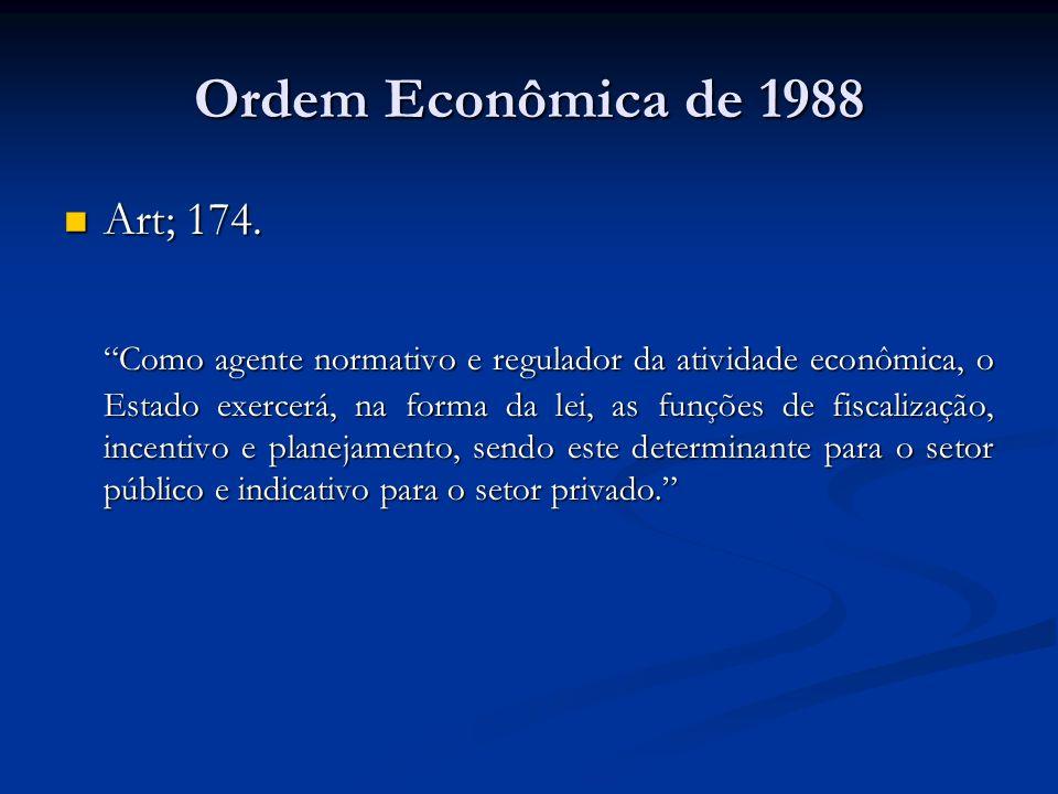 Ordem Econômica de 1988 Art; 174.