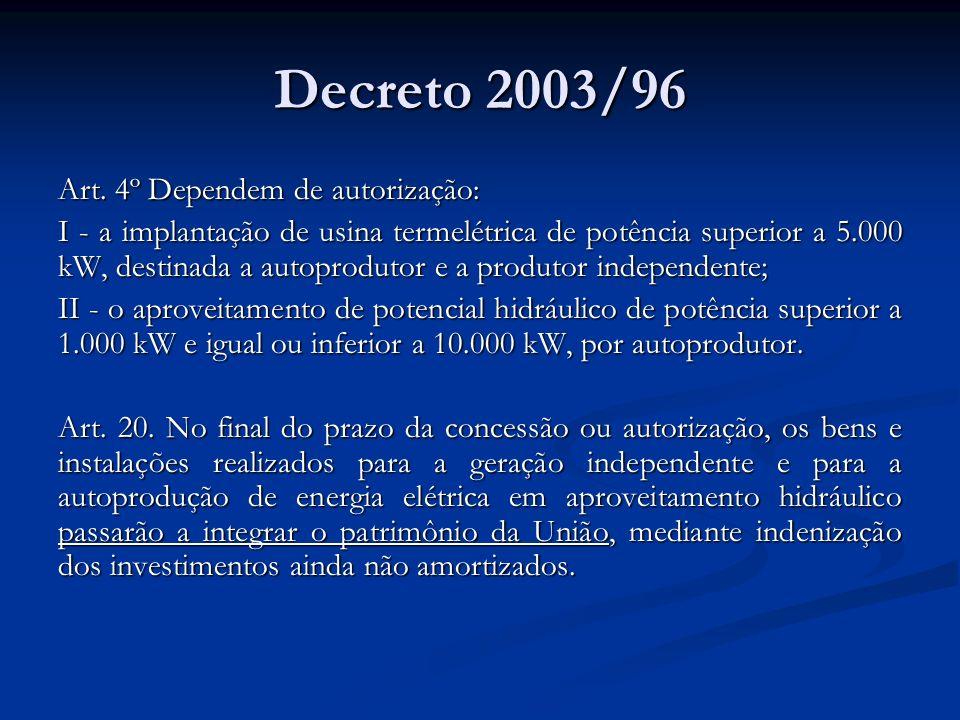 Decreto 2003/96 Art. 4º Dependem de autorização: