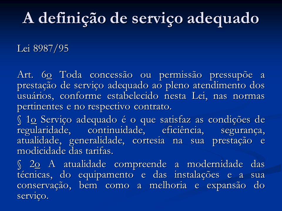 A definição de serviço adequado