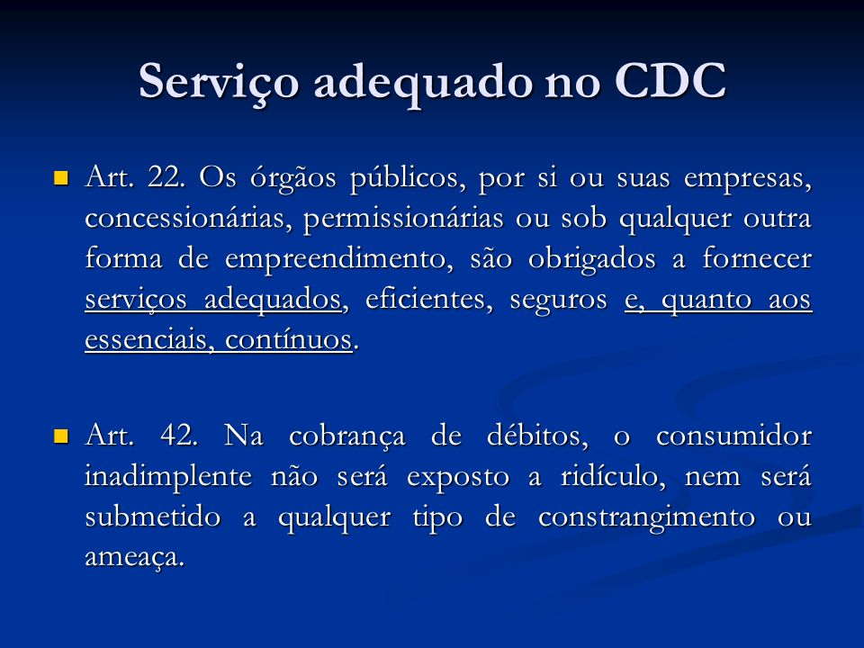 Serviço adequado no CDC