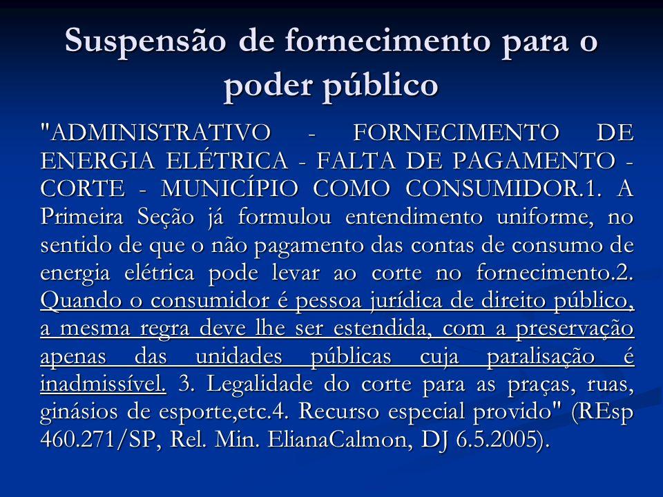Suspensão de fornecimento para o poder público