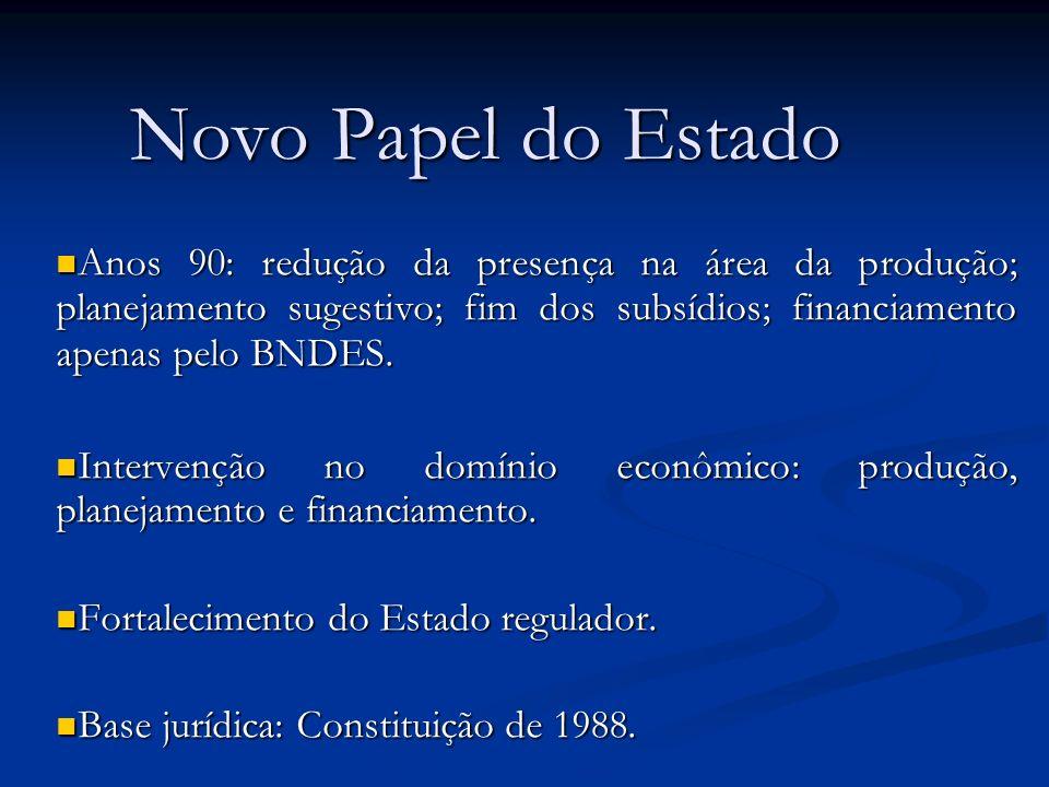 Novo Papel do EstadoAnos 90: redução da presença na área da produção; planejamento sugestivo; fim dos subsídios; financiamento apenas pelo BNDES.