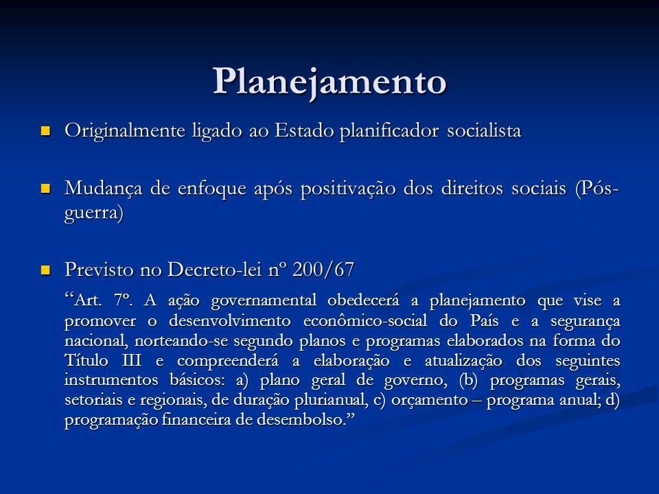 Planejamento Originalmente ligado ao Estado planificador socialista