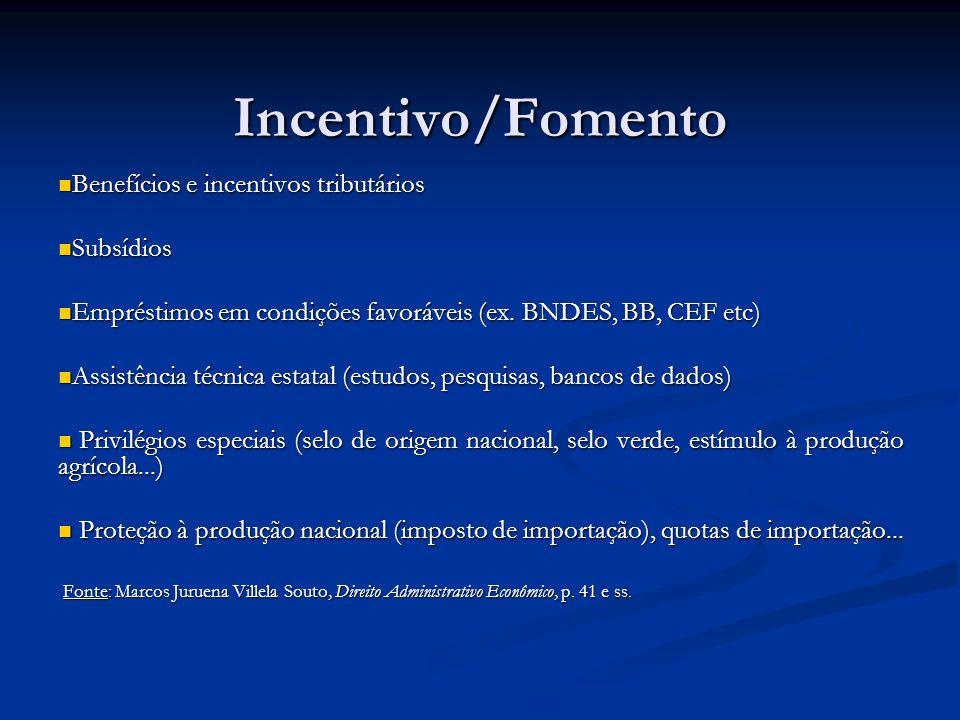 Incentivo/Fomento Benefícios e incentivos tributários Subsídios