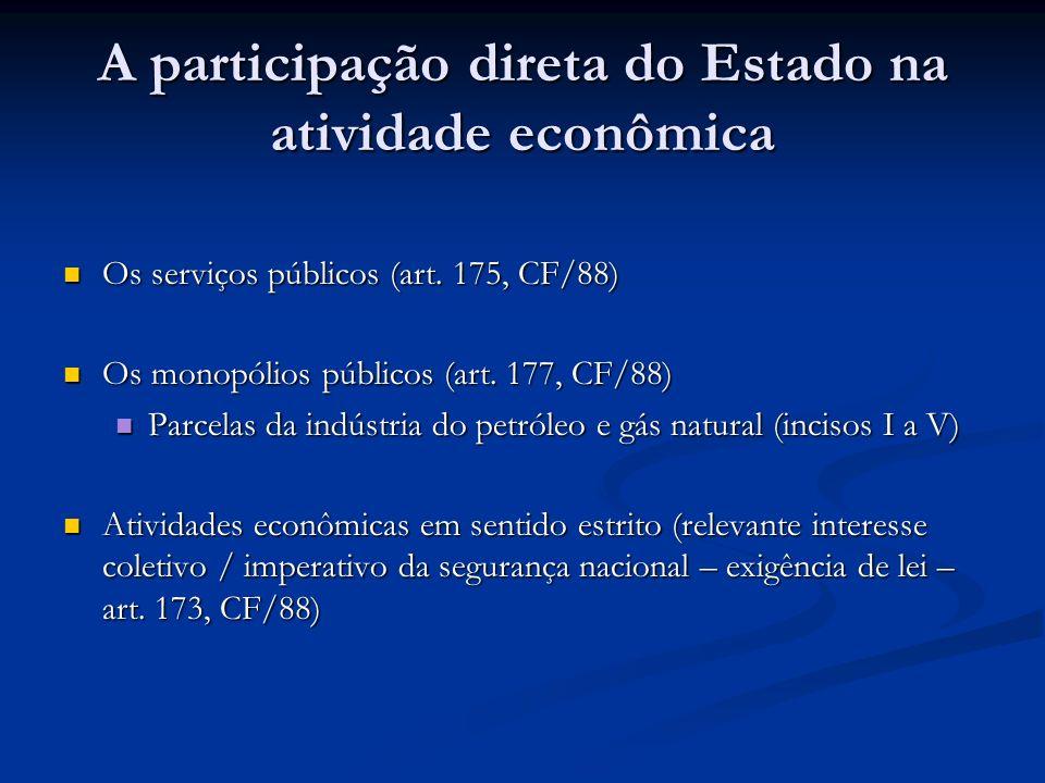 A participação direta do Estado na atividade econômica