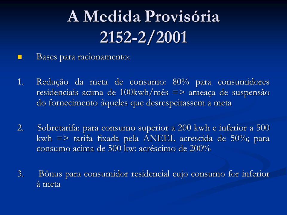 A Medida Provisória 2152-2/2001 Bases para racionamento: