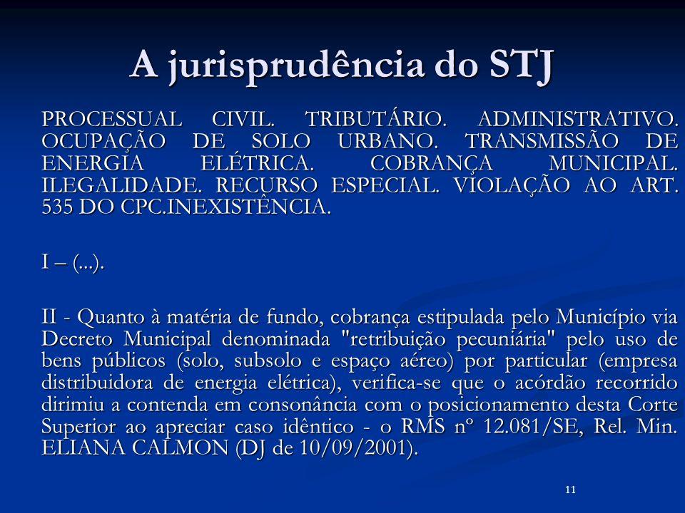 A jurisprudência do STJ