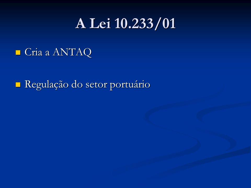 A Lei 10.233/01 Cria a ANTAQ Regulação do setor portuário