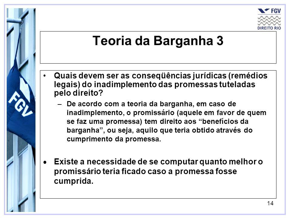 Teoria da Barganha 3 Quais devem ser as conseqüências jurídicas (remédios legais) do inadimplemento das promessas tuteladas pelo direito