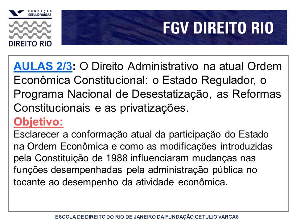 AULAS 2/3: O Direito Administrativo na atual Ordem Econômica Constitucional: o Estado Regulador, o Programa Nacional de Desestatização, as Reformas Constitucionais e as privatizações.