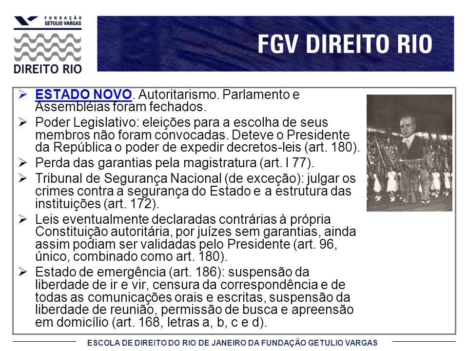 ESTADO NOVO. Autoritarismo. Parlamento e Assembléias foram fechados.