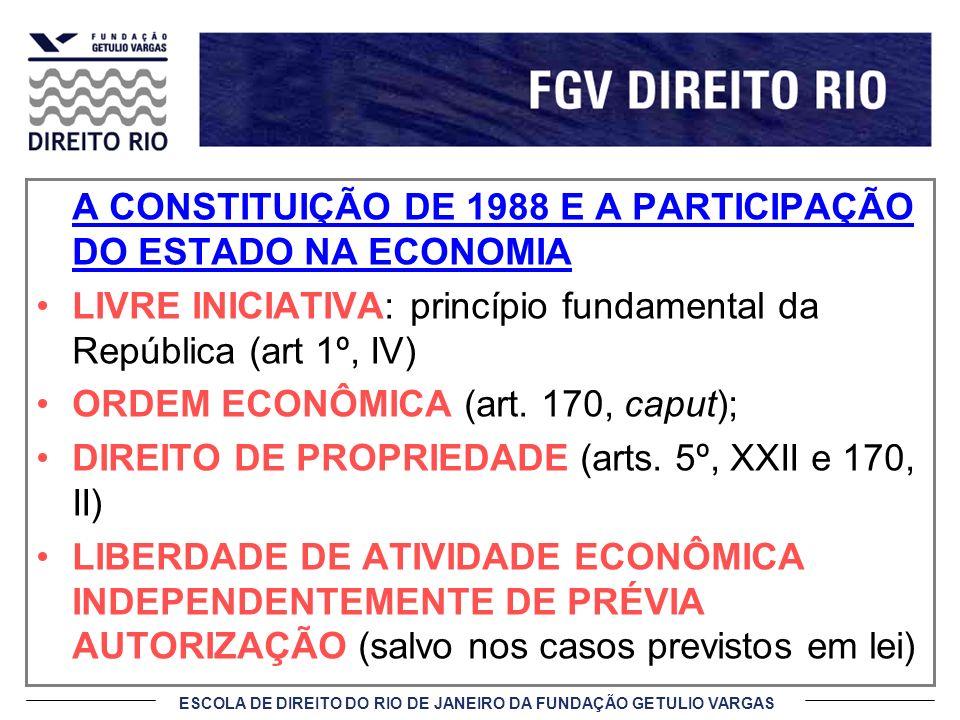A CONSTITUIÇÃO DE 1988 E A PARTICIPAÇÃO DO ESTADO NA ECONOMIA
