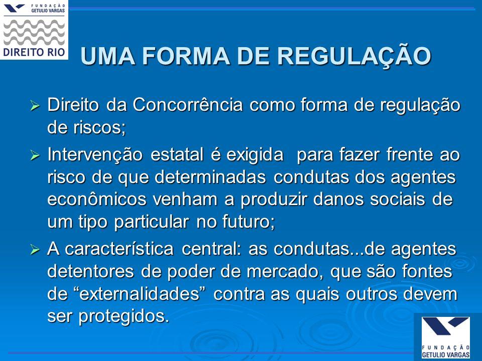 UMA FORMA DE REGULAÇÃO Direito da Concorrência como forma de regulação de riscos;