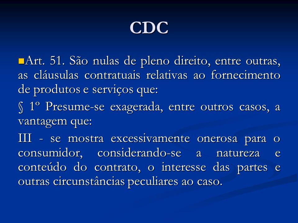 CDCArt. 51. São nulas de pleno direito, entre outras, as cláusulas contratuais relativas ao fornecimento de produtos e serviços que: