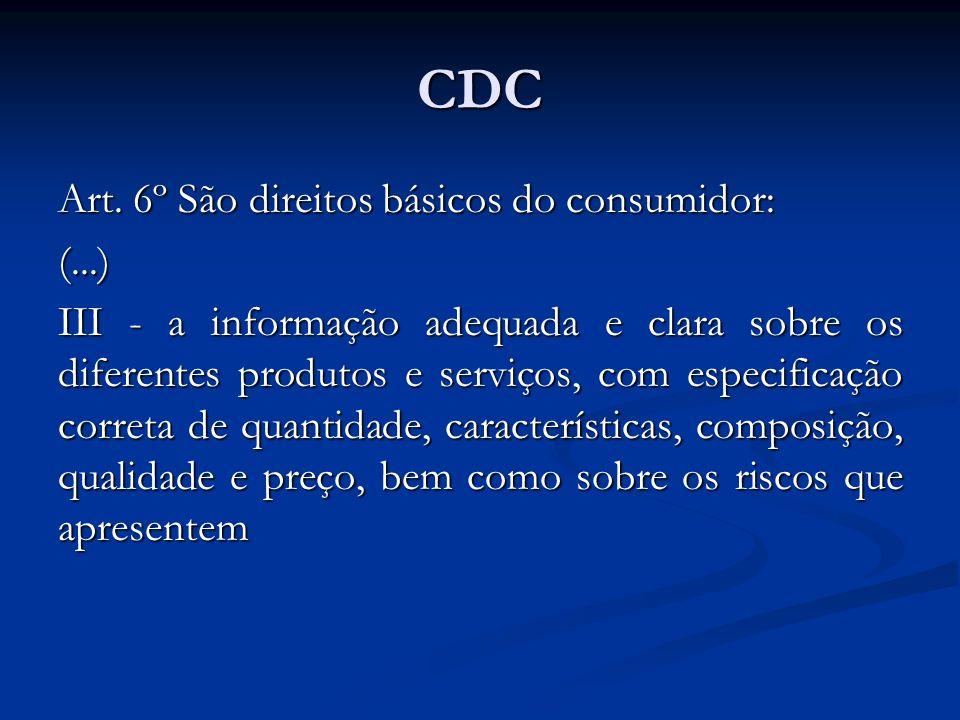 CDC Art. 6º São direitos básicos do consumidor: (...)