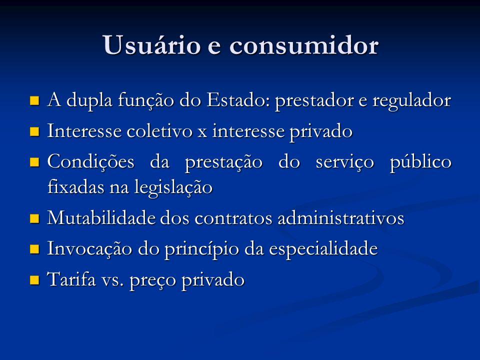 Usuário e consumidor A dupla função do Estado: prestador e regulador
