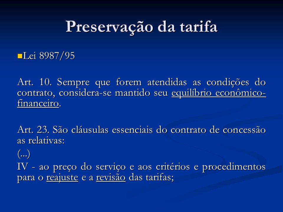 Preservação da tarifa Lei 8987/95