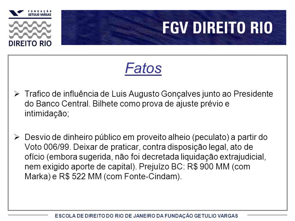 Fatos Trafico de influência de Luis Augusto Gonçalves junto ao Presidente do Banco Central. Bilhete como prova de ajuste prévio e intimidação;