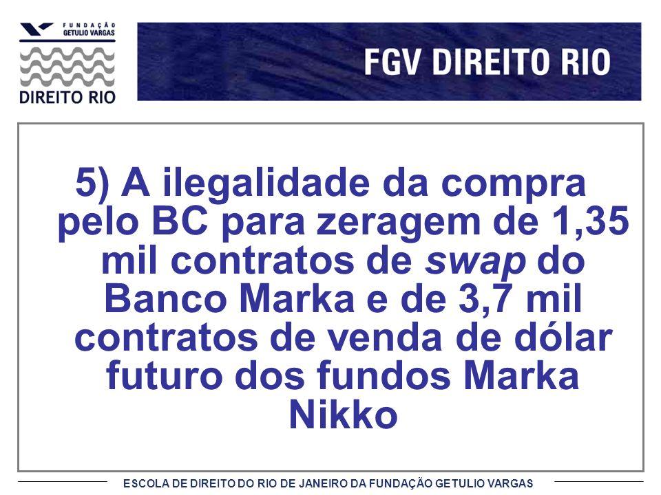 5) A ilegalidade da compra pelo BC para zeragem de 1,35 mil contratos de swap do Banco Marka e de 3,7 mil contratos de venda de dólar futuro dos fundos Marka Nikko