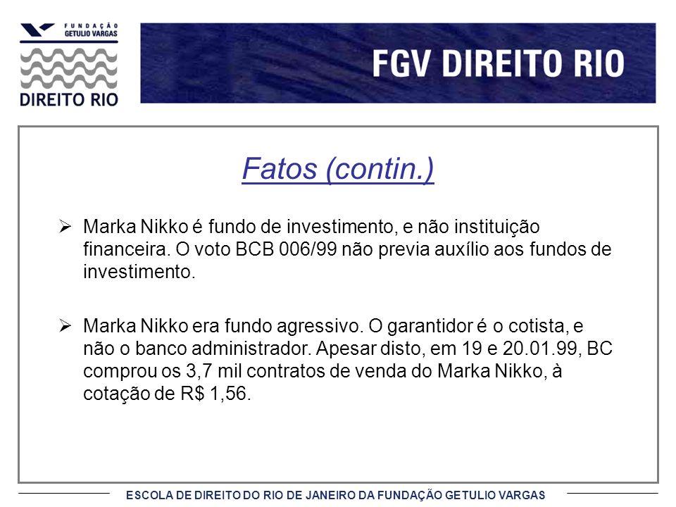 Fatos (contin.) Marka Nikko é fundo de investimento, e não instituição financeira. O voto BCB 006/99 não previa auxílio aos fundos de investimento.
