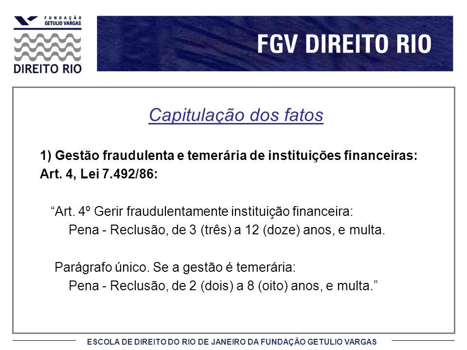 Capitulação dos fatos 1) Gestão fraudulenta e temerária de instituições financeiras: Art. 4, Lei 7.492/86: