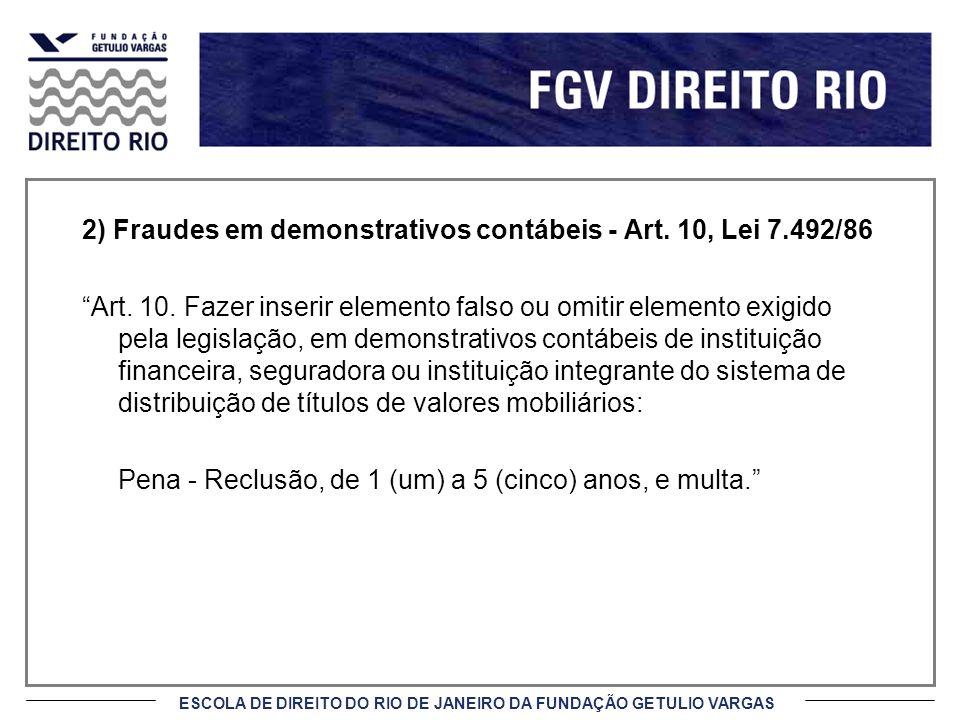 2) Fraudes em demonstrativos contábeis - Art. 10, Lei 7.492/86