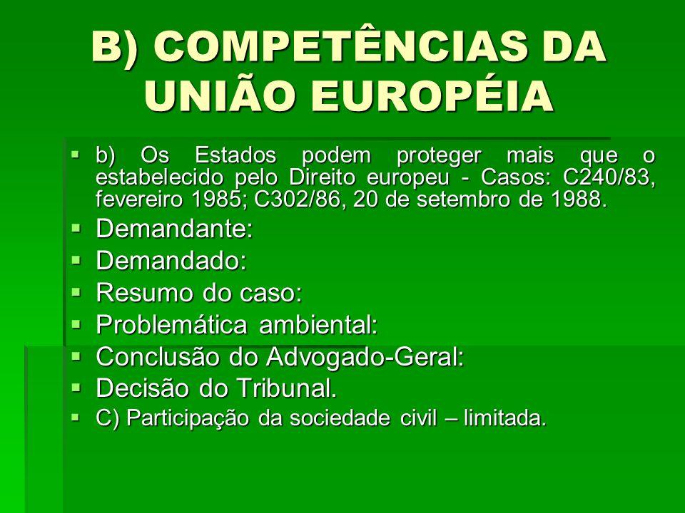 B) COMPETÊNCIAS DA UNIÃO EUROPÉIA