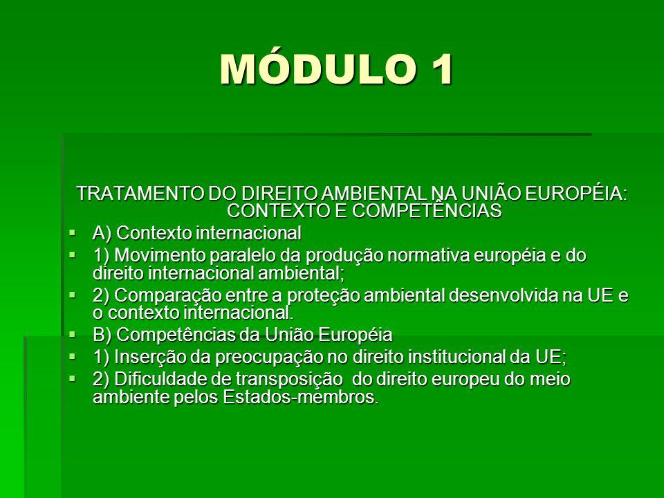 MÓDULO 1 TRATAMENTO DO DIREITO AMBIENTAL NA UNIÃO EUROPÉIA: CONTEXTO E COMPETÊNCIAS. A) Contexto internacional.