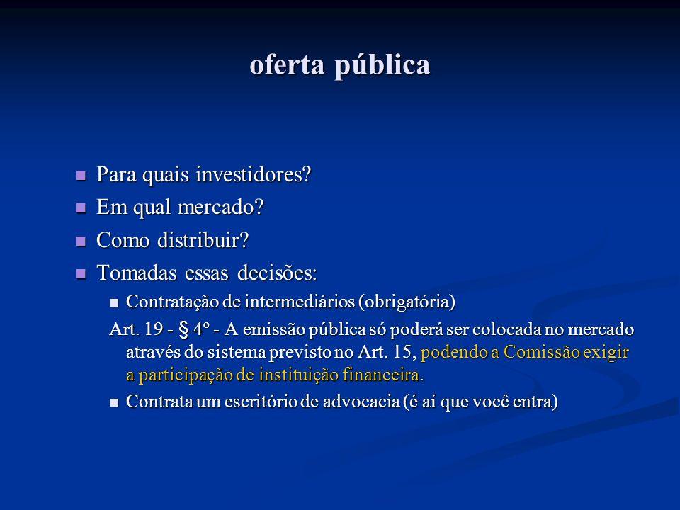 oferta pública Para quais investidores Em qual mercado