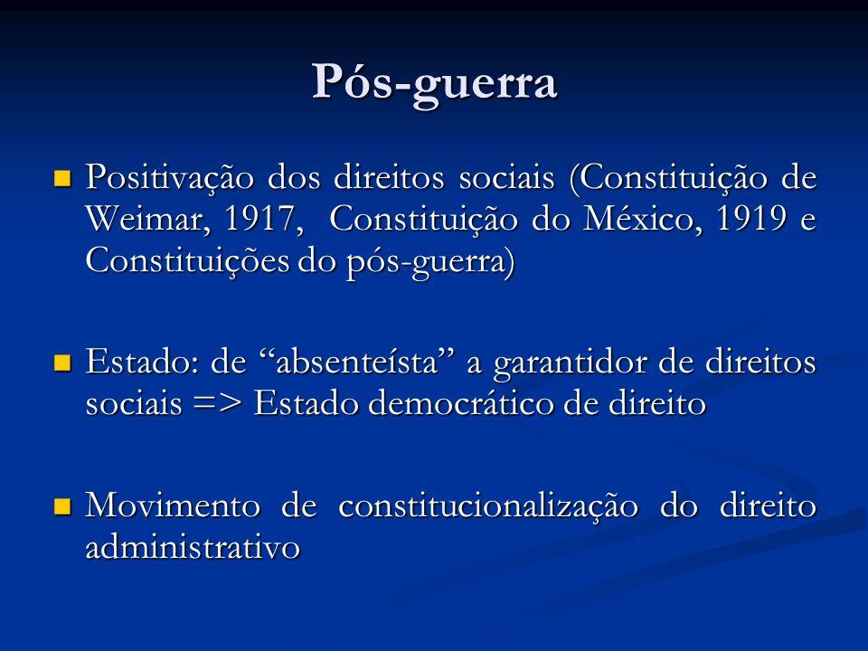 Pós-guerra Positivação dos direitos sociais (Constituição de Weimar, 1917, Constituição do México, 1919 e Constituições do pós-guerra)