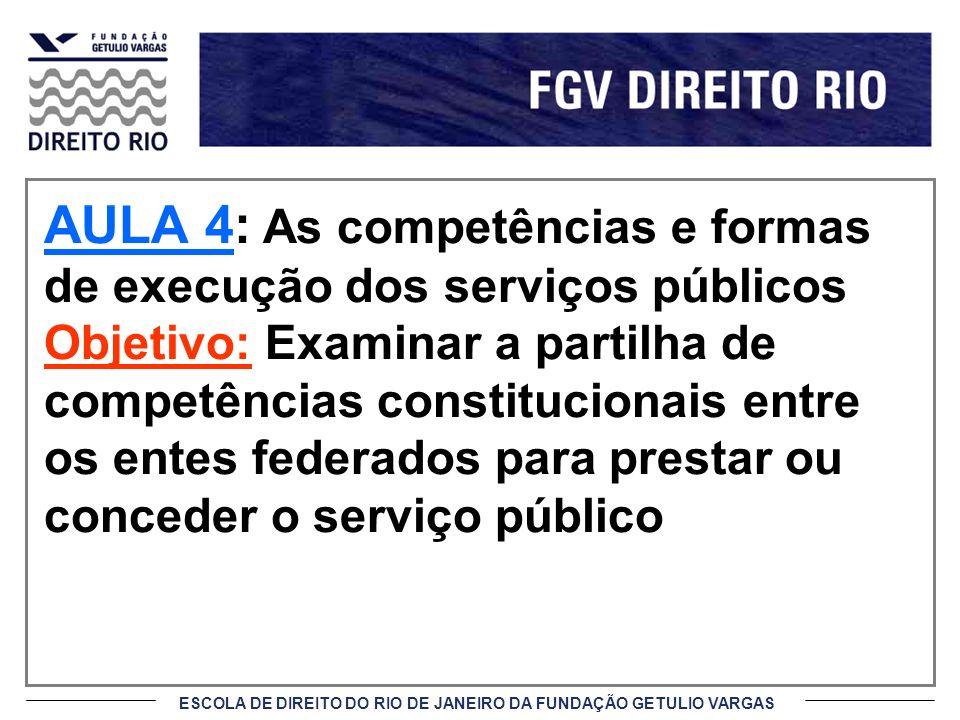AULA 4: As competências e formas de execução dos serviços públicos