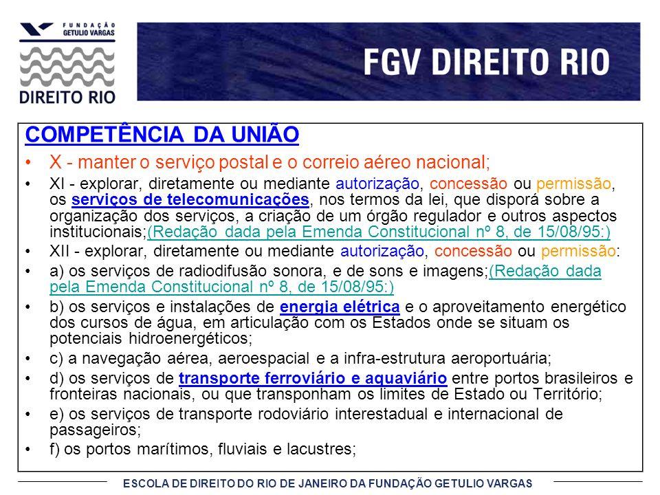 COMPETÊNCIA DA UNIÃO X - manter o serviço postal e o correio aéreo nacional;