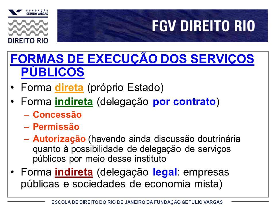 FORMAS DE EXECUÇÃO DOS SERVIÇOS PÚBLICOS