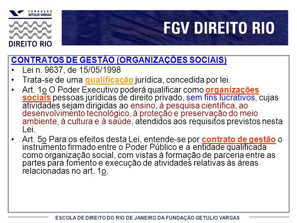 CONTRATOS DE GESTÃO (ORGANIZAÇÕES SOCIAIS)