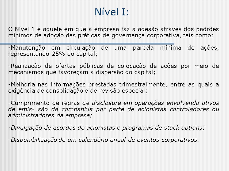 Nível I: O Nível 1 é aquele em que a empresa faz a adesão através dos padrões mínimos de adoção das práticas de governança corporativa, tais como: