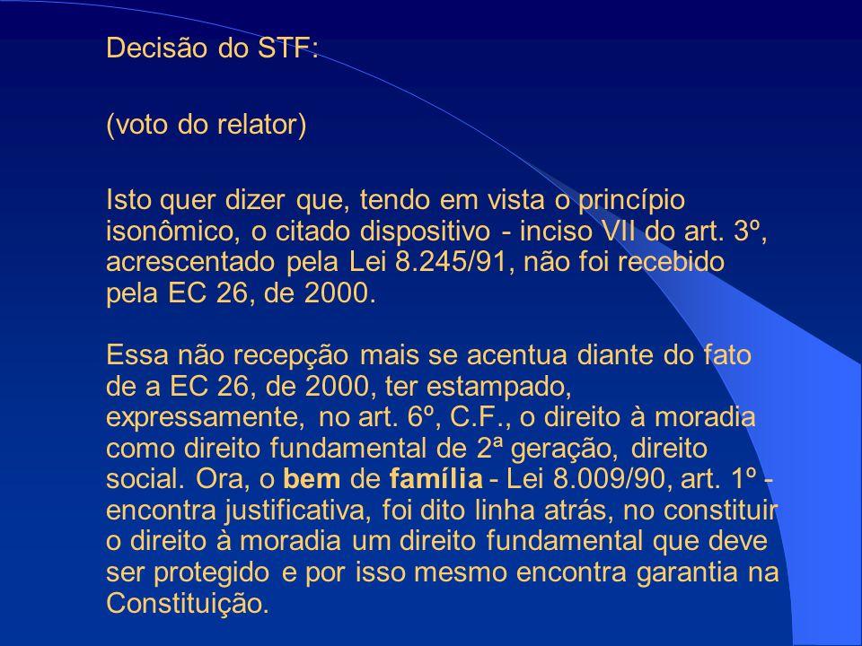 Decisão do STF: (voto do relator)