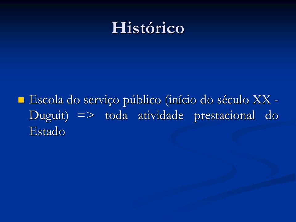 Histórico Escola do serviço público (início do século XX - Duguit) => toda atividade prestacional do Estado.