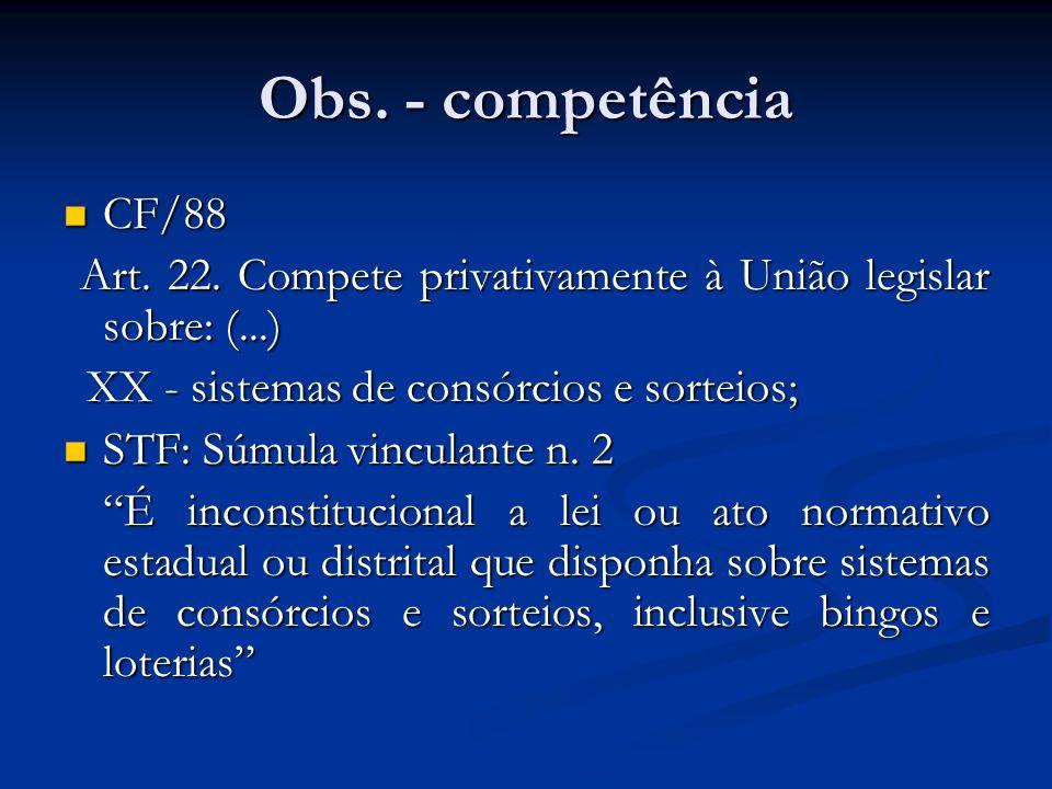 Obs. - competência CF/88. Art. 22. Compete privativamente à União legislar sobre: (...) XX - sistemas de consórcios e sorteios;