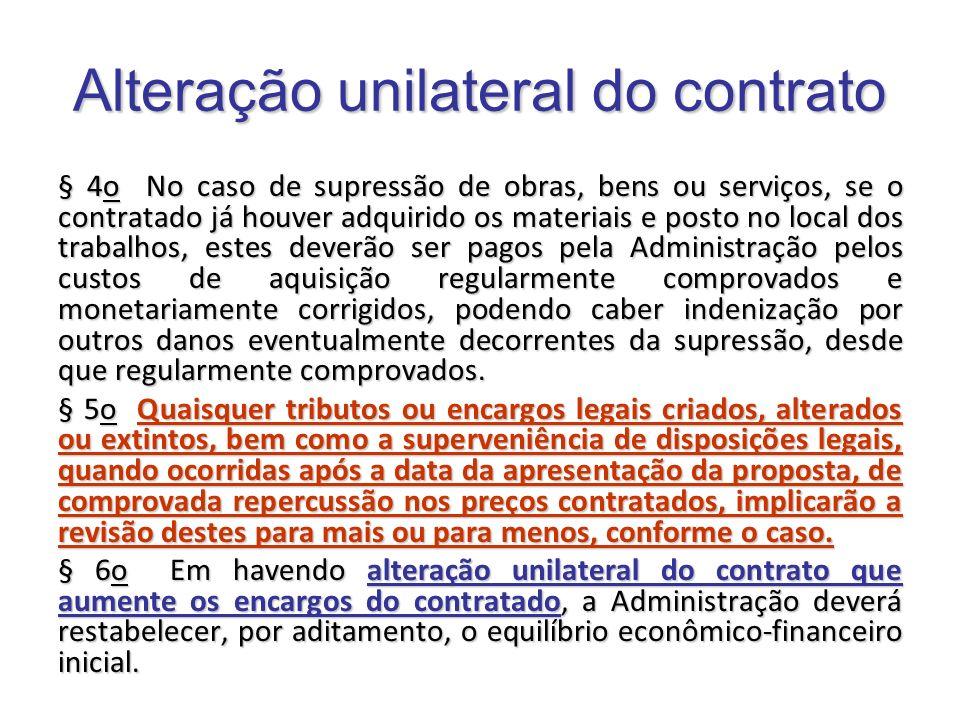 Alteração unilateral do contrato