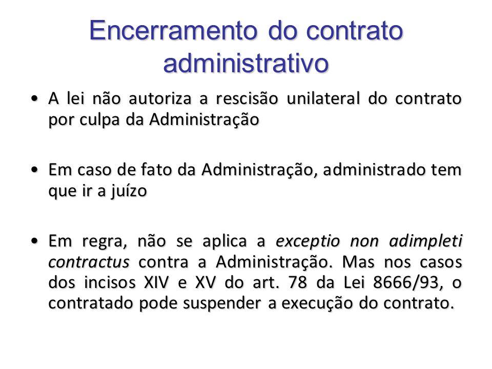 Encerramento do contrato administrativo