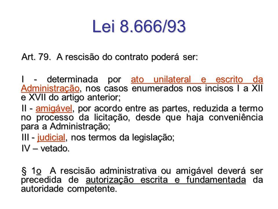 Lei 8.666/93 Art. 79. A rescisão do contrato poderá ser: