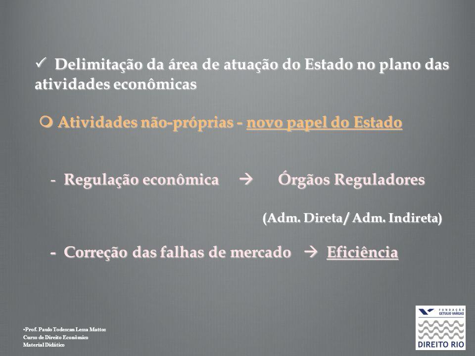 Delimitação da área de atuação do Estado no plano das atividades econômicas