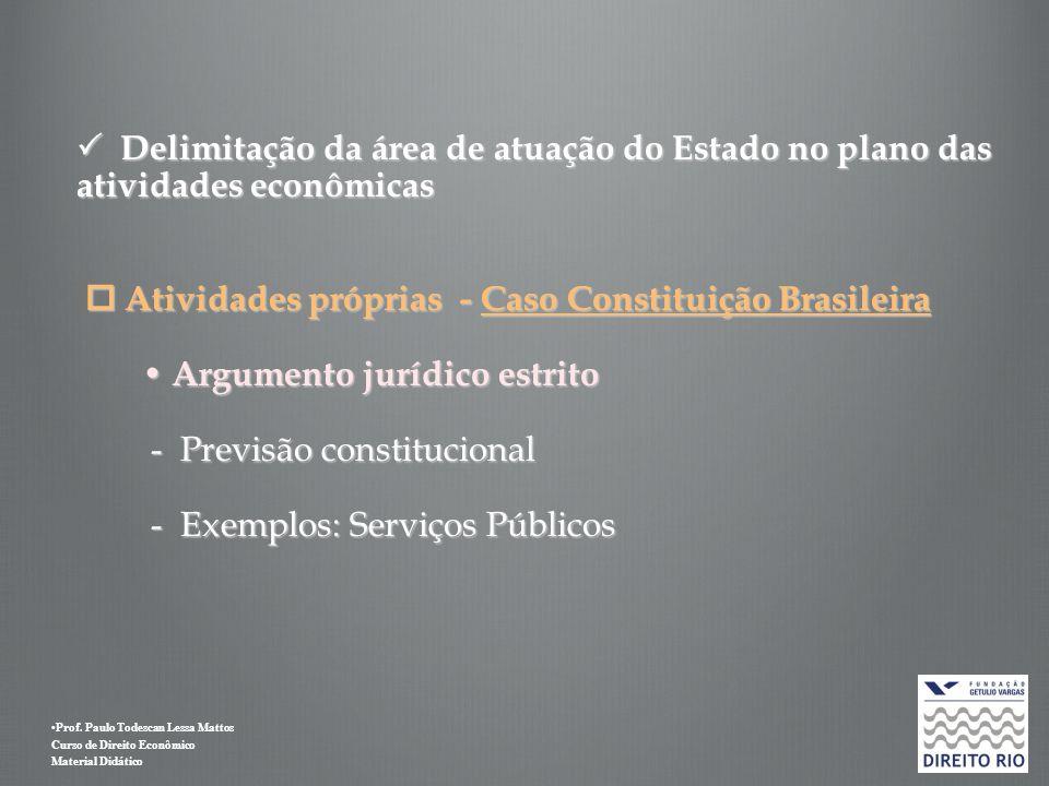  Delimitação da área de atuação do Estado no plano das atividades econômicas  Atividades próprias - Caso Constituição Brasileira • Argumento jurídico estrito - Previsão constitucional - Exemplos: Serviços Públicos