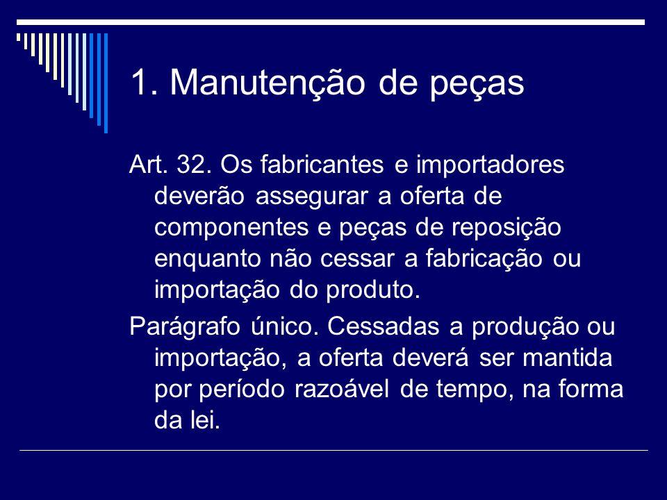 1. Manutenção de peças