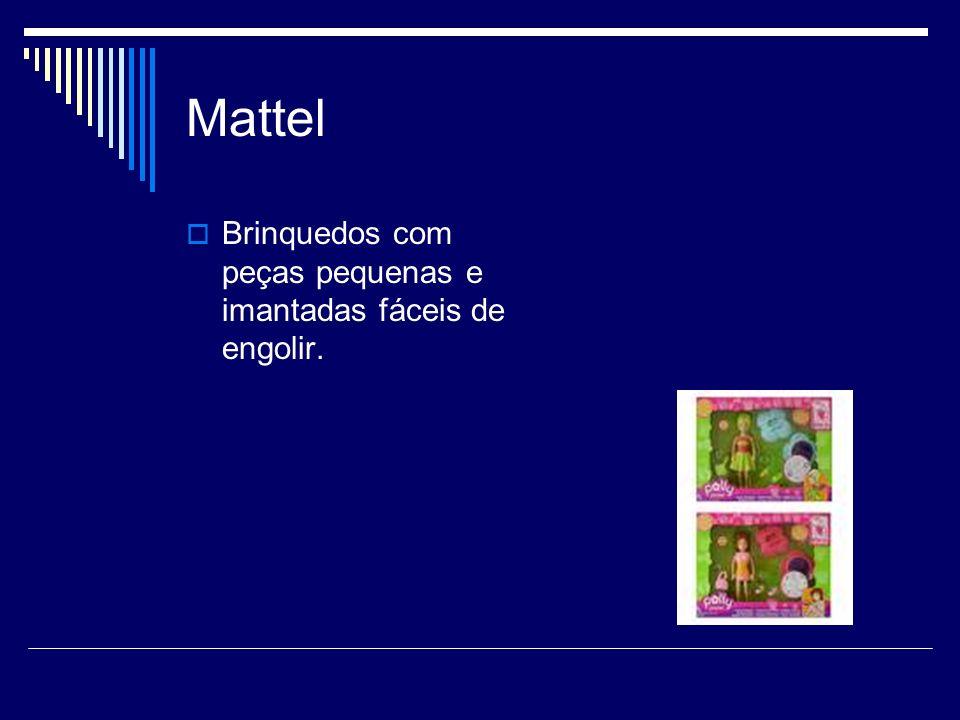 Mattel Brinquedos com peças pequenas e imantadas fáceis de engolir.