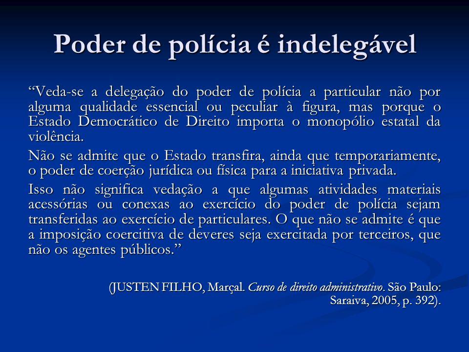 Poder de polícia é indelegável