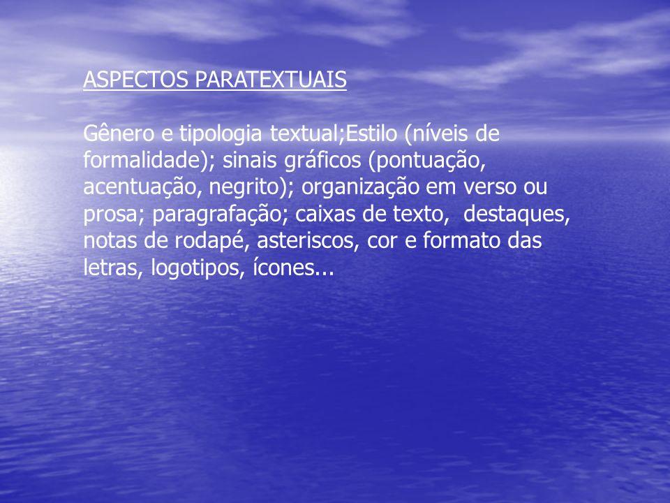 ASPECTOS PARATEXTUAIS