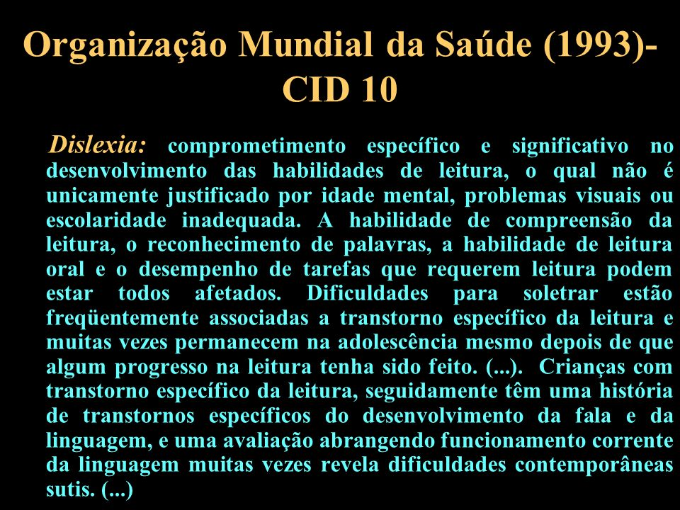 Organização Mundial da Saúde (1993)- CID 10